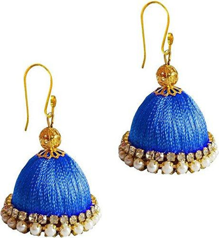Blue Color Silk Thread Ear Rings - Ragini-006