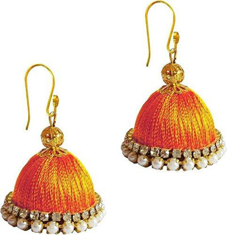 Orange Color Silk Thread Ear Rings - Ragini-007