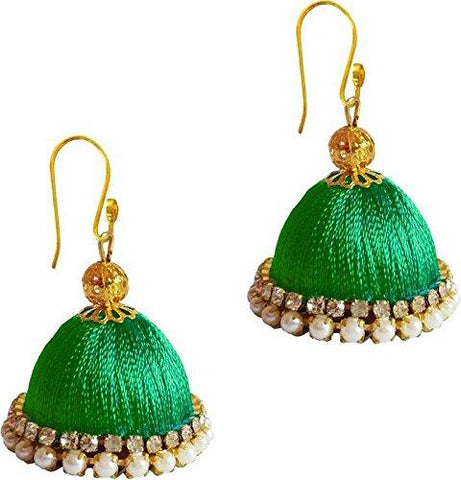 Green Color Silk Thread Ear Rings - Ragini-010