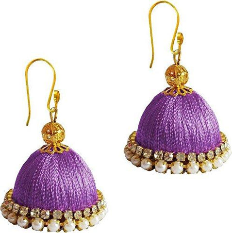 Lavender Color Silk Thread Ear Rings - Ragini-011