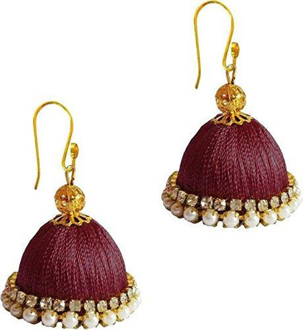 Brown Color Silk Thread Ear Rings - Ragini-012