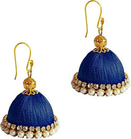 Dark Blue Color Silk Thread Ear Rings - Ragini-013