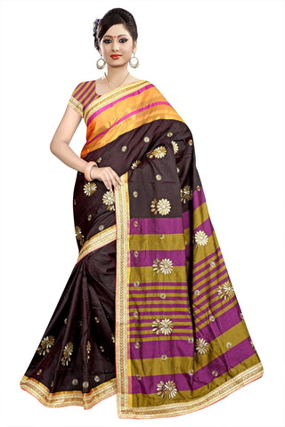 Brown Color Poly Cotton Saree - Ragini-DSC6706
