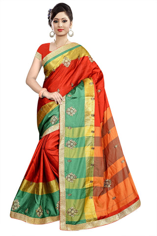 Red Color Poly Cotton Saree - Ragini-DSC6708