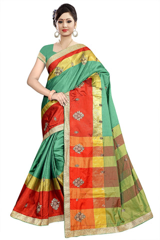 Green Color Poly Cotton Saree - Ragini-DSC6710