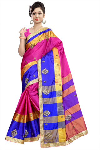 Pink Color Poly Cotton Saree - Ragini-DSC6712