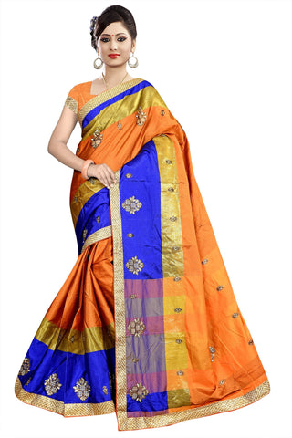 Orange Color Poly Cotton Saree - Ragini-DSC6714