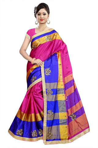 Pink Color Poly Cotton Saree - Ragini-DSC6720