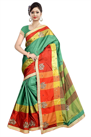 Green Color Poly Cotton Saree - Ragini-DSC6722