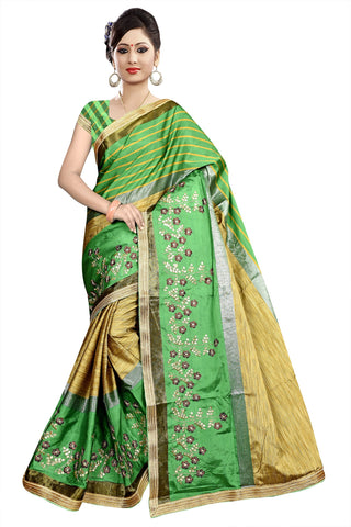 Beige And Green Color Poly Cotton Saree - Ragini-DSC6724