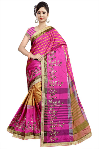 Beige And Pink Color Poly Cotton Saree - Ragini-DSC6726