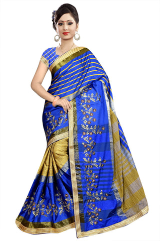 Blue And Beige Color Poly Cotton Saree - Ragini-DSC6730
