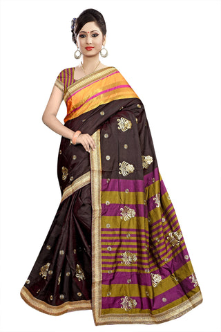Brown Color Poly Cotton Saree - Ragini-DSC6733