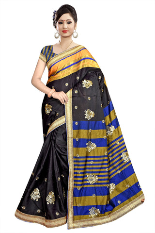 Black Color Poly Cotton Saree - Ragini-DSC6735