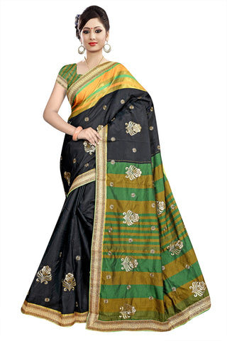 Black Color Poly Cotton Saree - Ragini-DSC6737