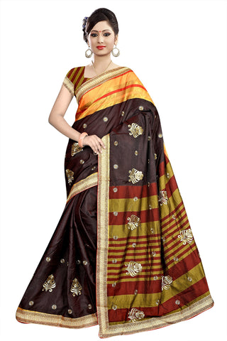 Brown Color Poly Cotton Saree - Ragini-DSC6739