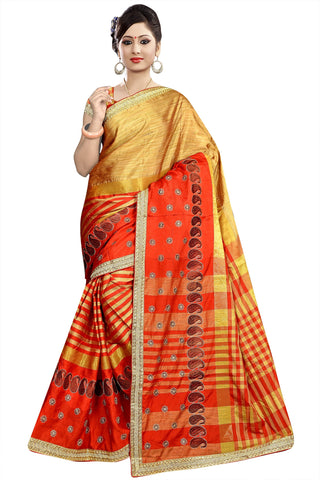 Beige And Red Color Poly Cotton Saree - Ragini-DSC6745