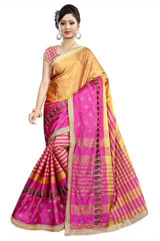 Beige And Pink Color Poly Cotton Saree - Ragini-DSC6747