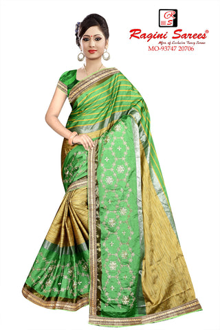 Green And Beige Color Poly Cotton Saree - Ragini-DSC7360