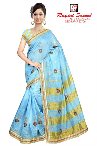 Sky Blue Color Poly Cotton Saree - Ragini-DSC7366
