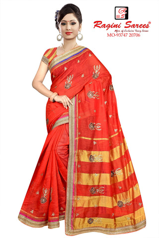 Red Color Poly Cotton Saree - Ragini-DSC7369