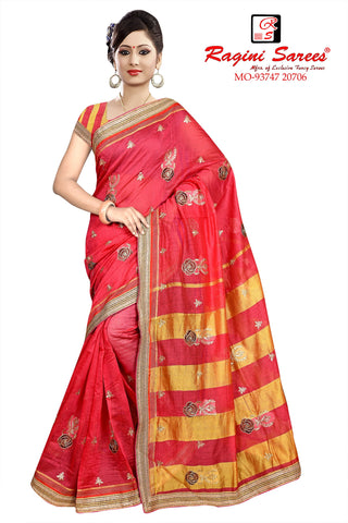 Dark Peach Color Poly Cotton Saree - Ragini-DSC7371