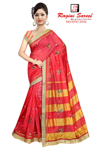Dark Peach Color Poly Cotton Saree - Ragini-DSC7377