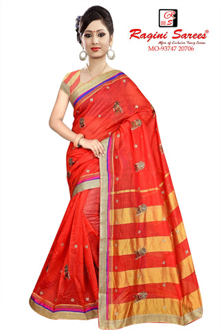 Red Color Poly Cotton Saree - Ragini-DSC7379