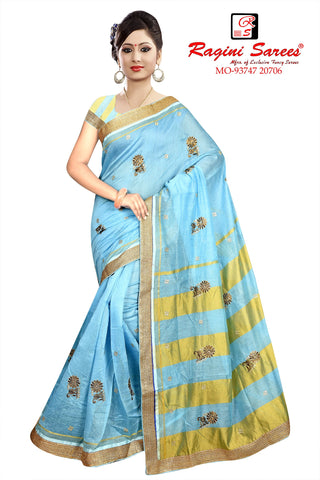 Sky Blue Color Poly Cotton Saree - Ragini-DSC7384