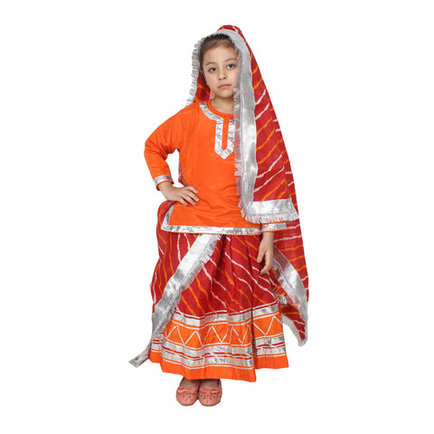 Multi Color Cotton Blend Fancy Costume Dress  - Rajsthani girl-1