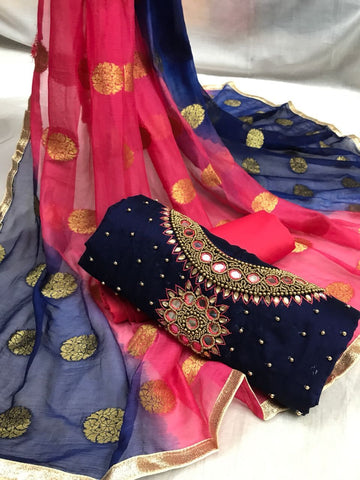 Navy Blue Color Heavy Chanderi Silk  Unstitched Salwar - Rakhi-Navy