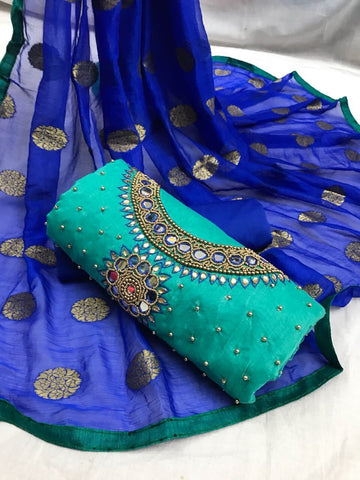 Rama Green Color Heavy Chanderi Silk  Unstitched Salwar - Rakhi-Rama