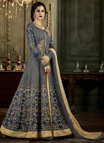 Navy Blue Color Mulbary Silk Semi-Stitched Salwar - Rangat-34005