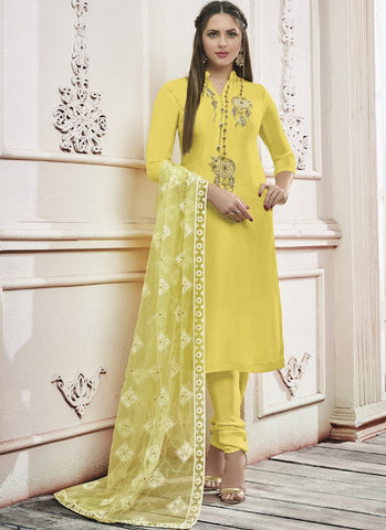 Yellow Color Georgette Semi Stitched Salwar - Rangoli-5002