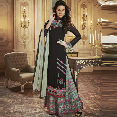 Black Color Apple Georgette Semi-Stitched Salwar - Rangrez-35002