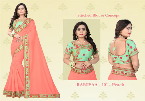 Peach Color Vichitra Art Silk Saree - Ranisaa-102
