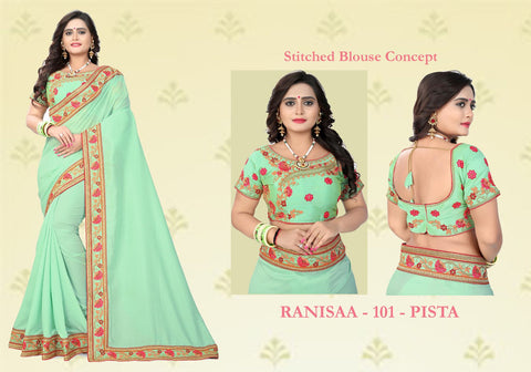 Green Color Vichitra Art Silk Saree - Ranisaa-103