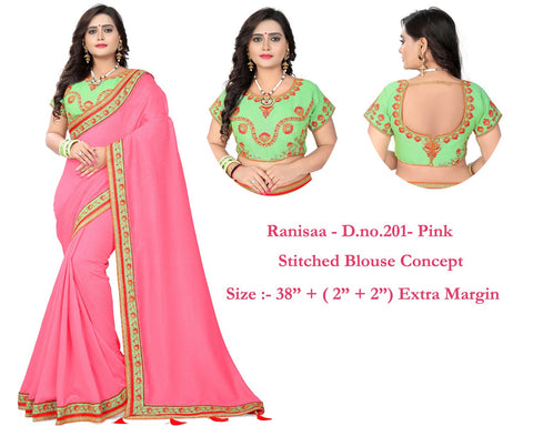 Pink Color Vichitra Art Silk Saree - Ranisaa-201