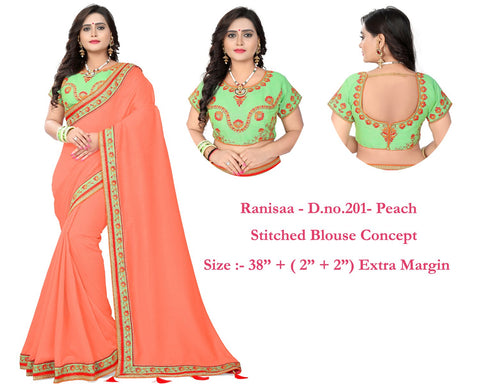 Peach Color Vichitra Art Silk Saree - Ranisaa-202