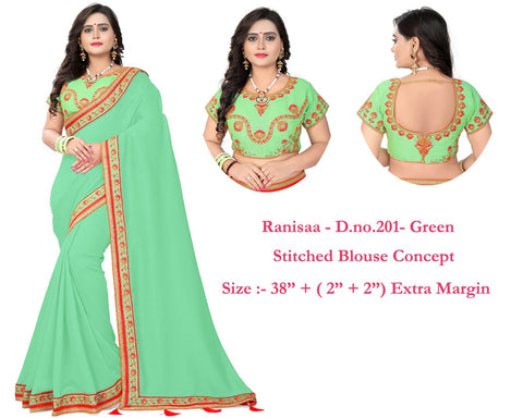Green Color Vichitra Art Silk Saree - Ranisaa-203