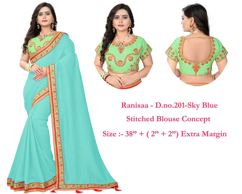 Sky Blue Color Vichitra Art Silk Saree - Ranisaa-204