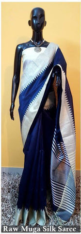 Navy Blue Color Raw Silk Saree  - Rawsilk-4