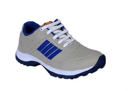 Beige and Blue Color Synthetic Foam Men Shoe - RblueinCream