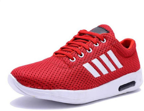 Red Color Mesh Running Shoe - Red4Strip