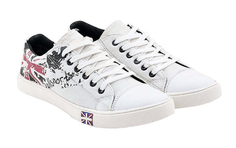 White Color Canvas Casual Shoe - RedPaint