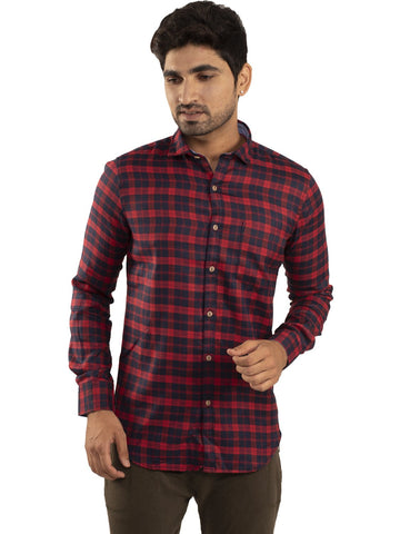 Red Color Checked Casual Shirt - RC-1ABF