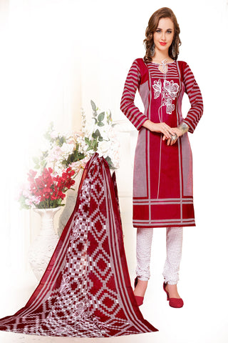 Red Color Cotton Stitched Salwar - Redbeauty17-17004