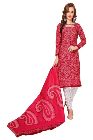 Red Color Cotton Stitched Salwar - Redbeauty17-17010