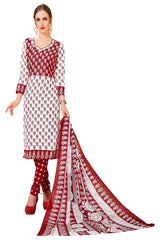 Buy Red Color Cotton Stitched Salwar