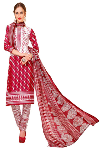 Red Color Cotton Stitched Salwar - Redbeauty17-17012